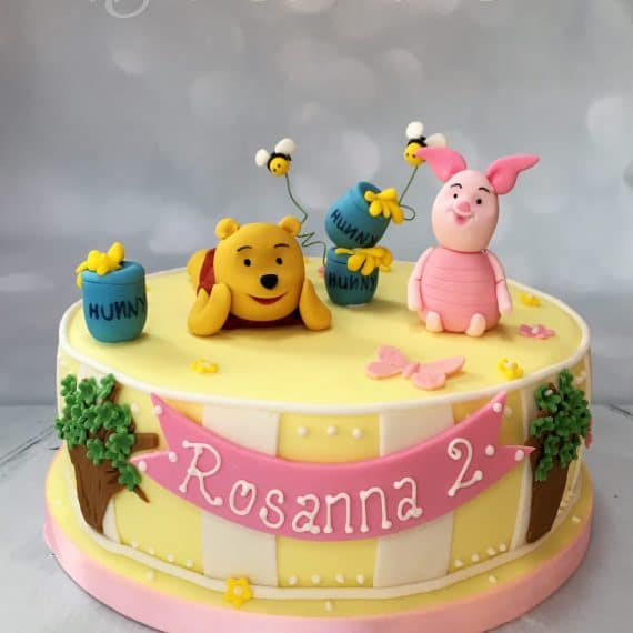Pooh Bear and Piglet Birthday Cake