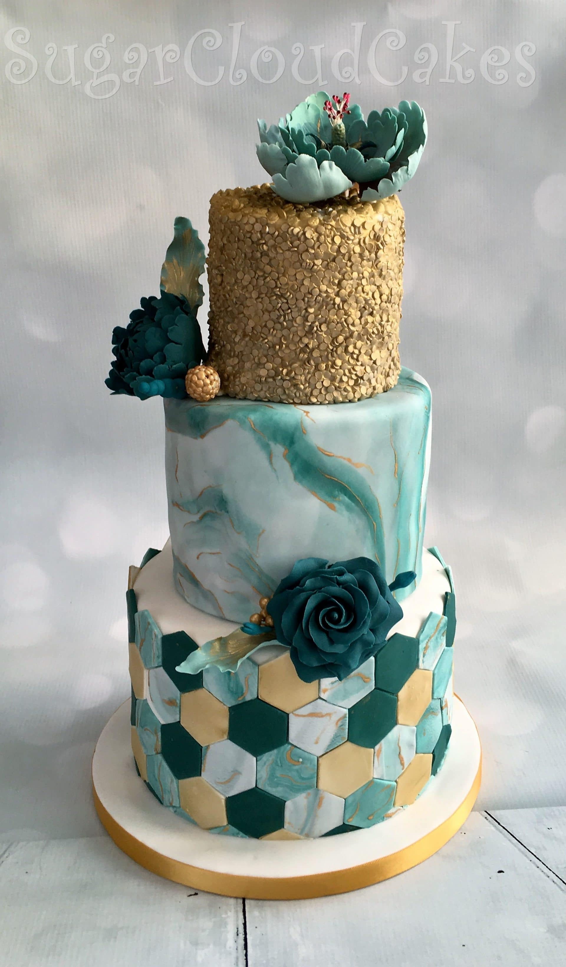 Teal and Gold Tiered Wedding Cake
