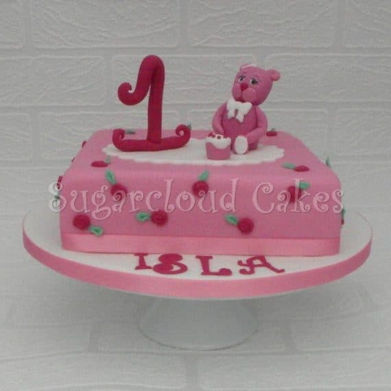 Pink Teddy Bear 1st Birthday Cake