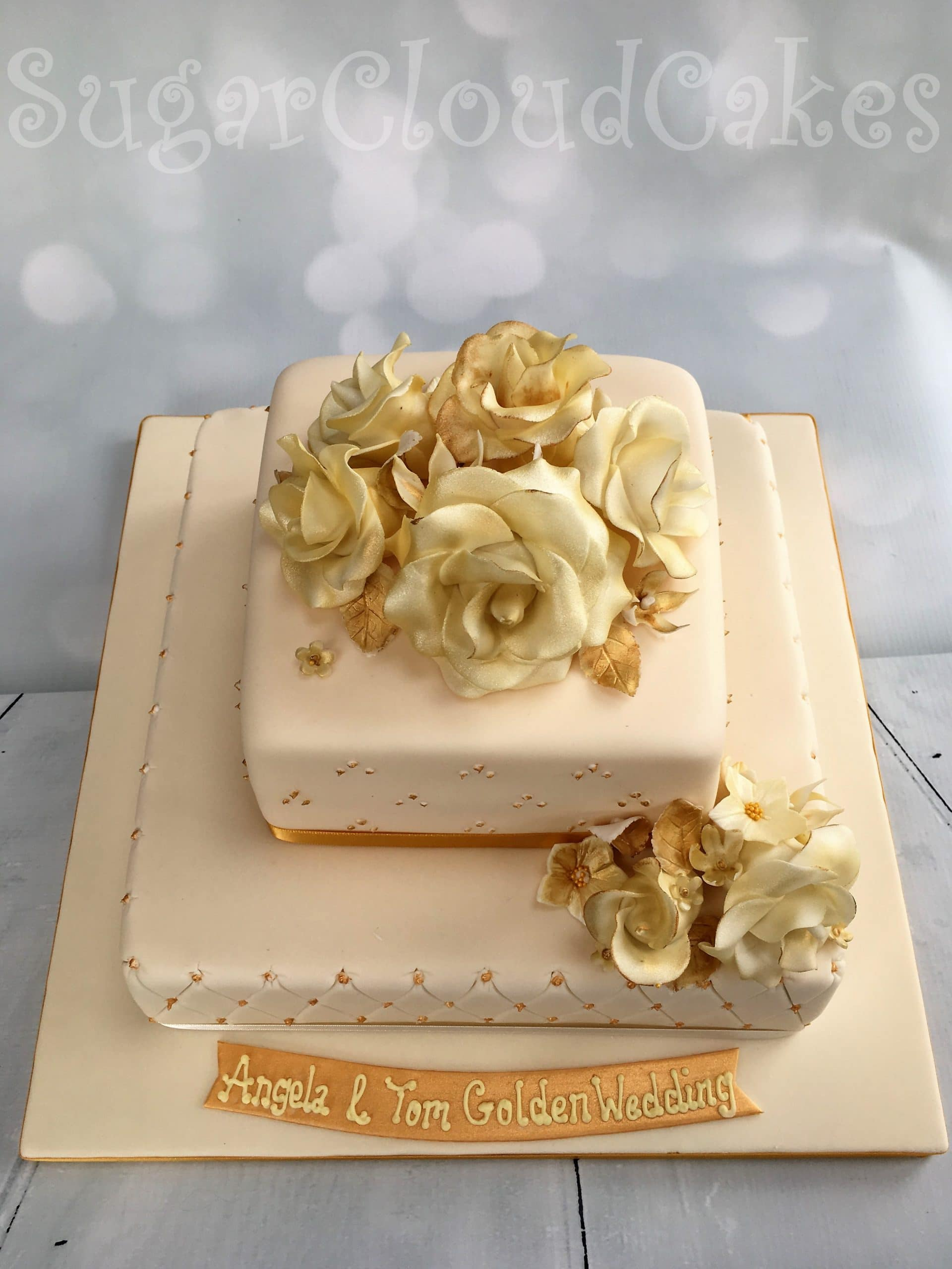 Sugar Cloud Cakes Cake Designer Nantwich Crewe Cheshire Dairy And Gluten Free Golden Wedding Anniversary Cake The Hunters Lodge Crewe