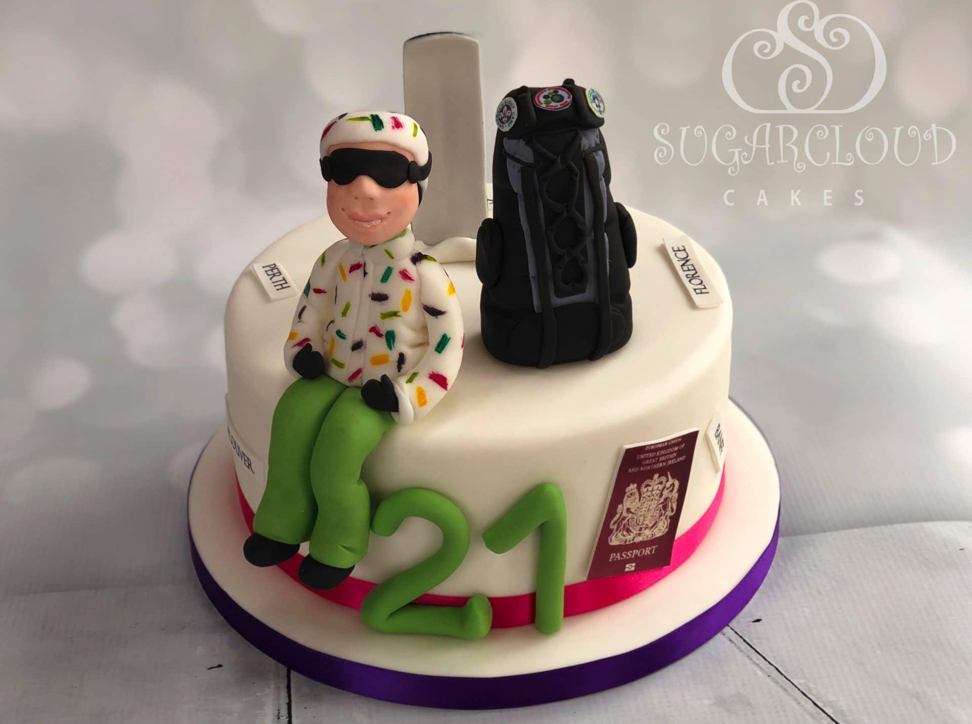 21st Snowboarding traveller cake, Knutsford