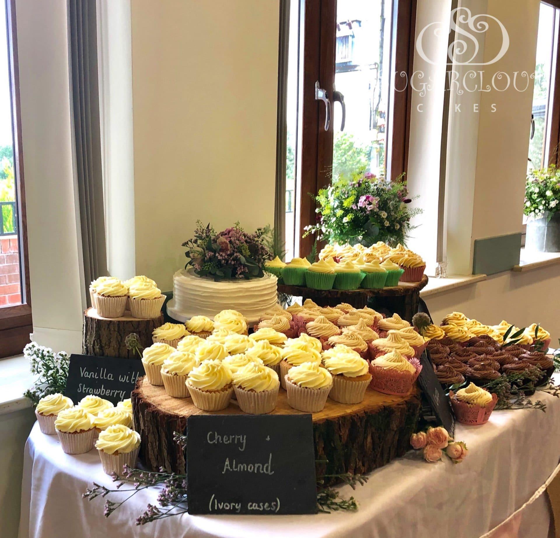 A selection of wedding cupcakes