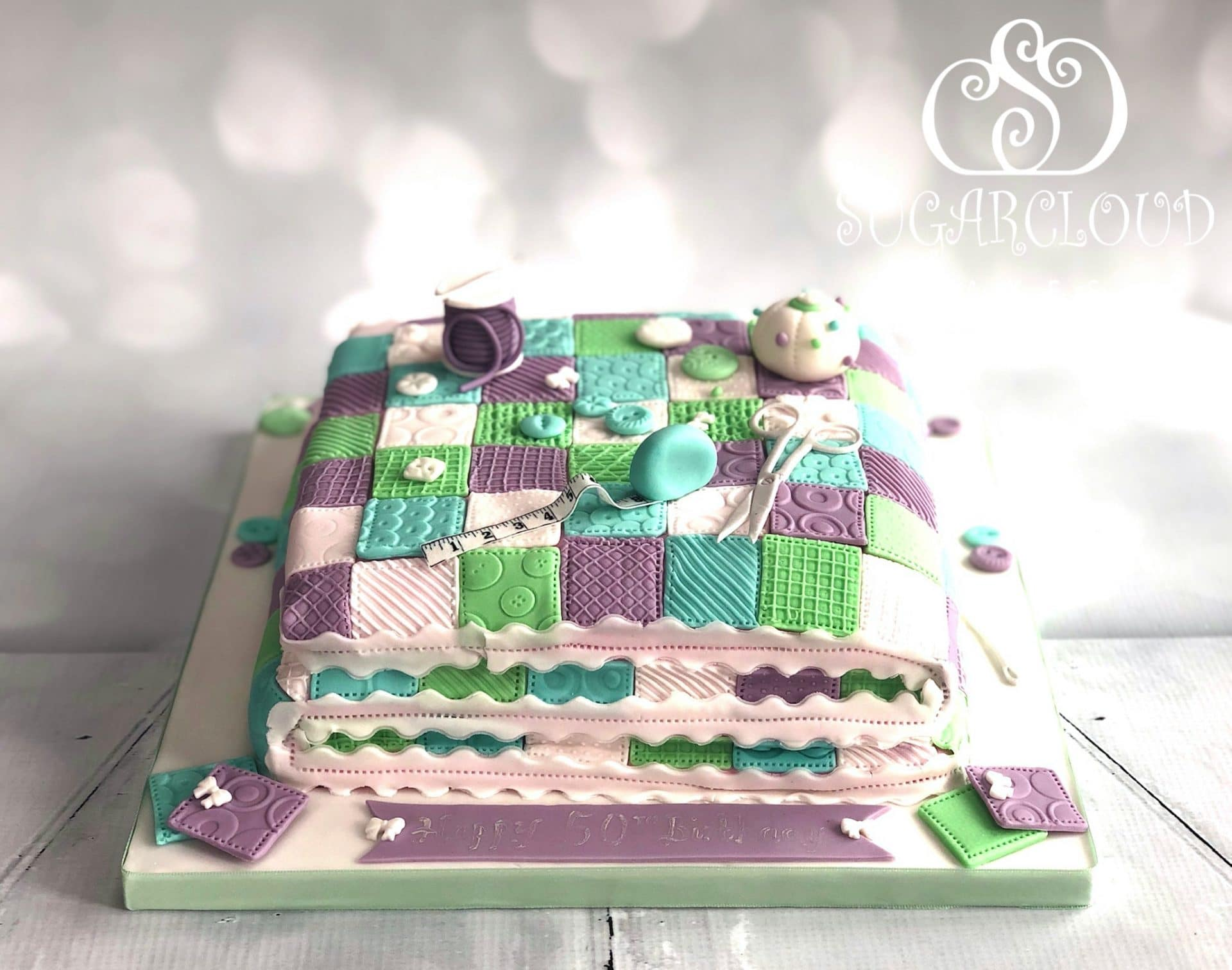 Quilting 50th Birthday Cake