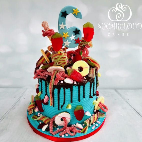 Sweet explosion cake for a sugar loving six year old