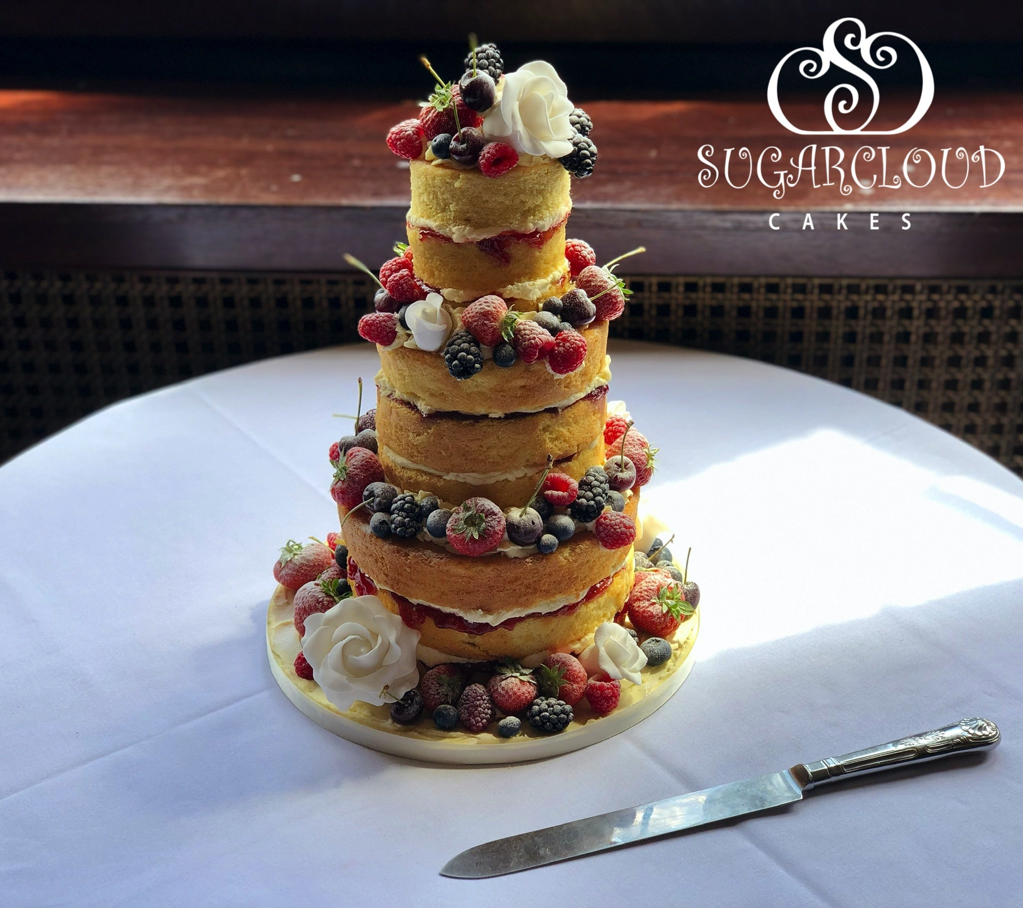 Naked Wedding Cake for a Wedding at Crewe Hall