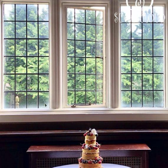 A Naked Wedding Cake for a Wedding at Crewe Hall