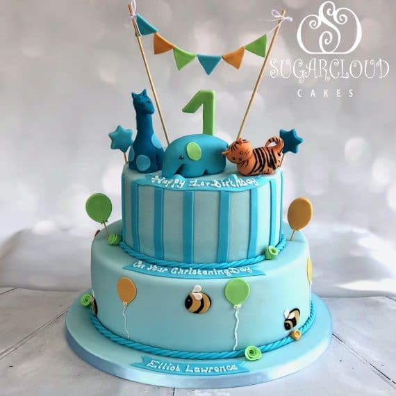 A joint Christening and 1st Birthday Cake