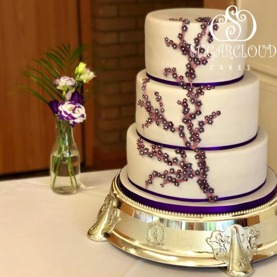 Nicola and Martin's Purple and Grey Wedding Cake