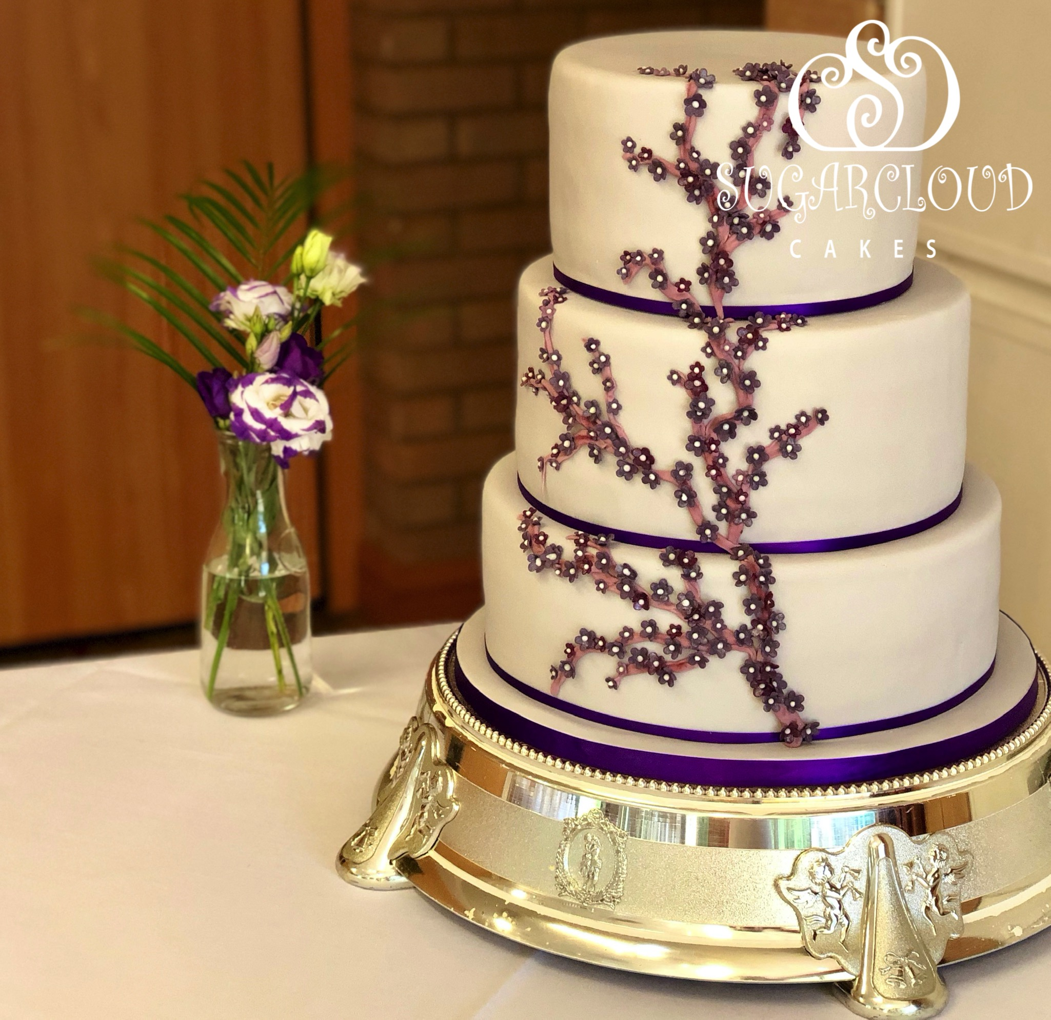 Nicola and Martin's Purple and Grey Wedding Cake