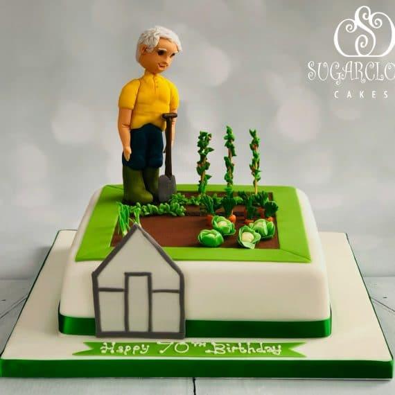 A Gardening Themed 70th Birthday Cake