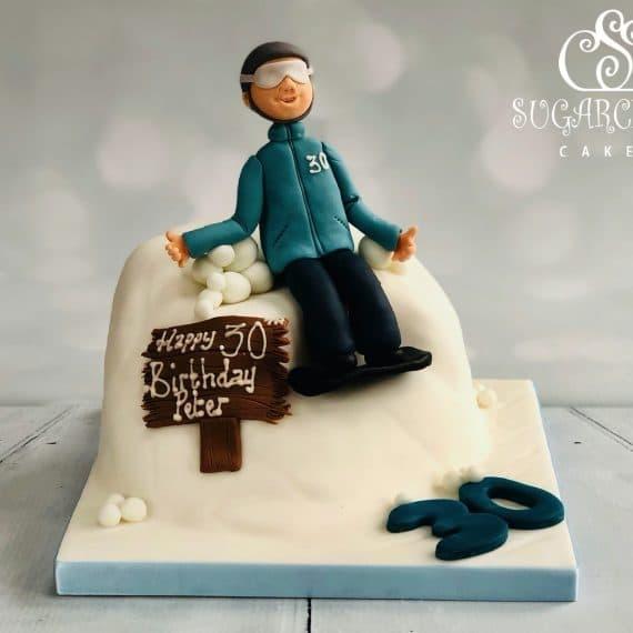 A Snowboarding Themed 30th Birthday Cake