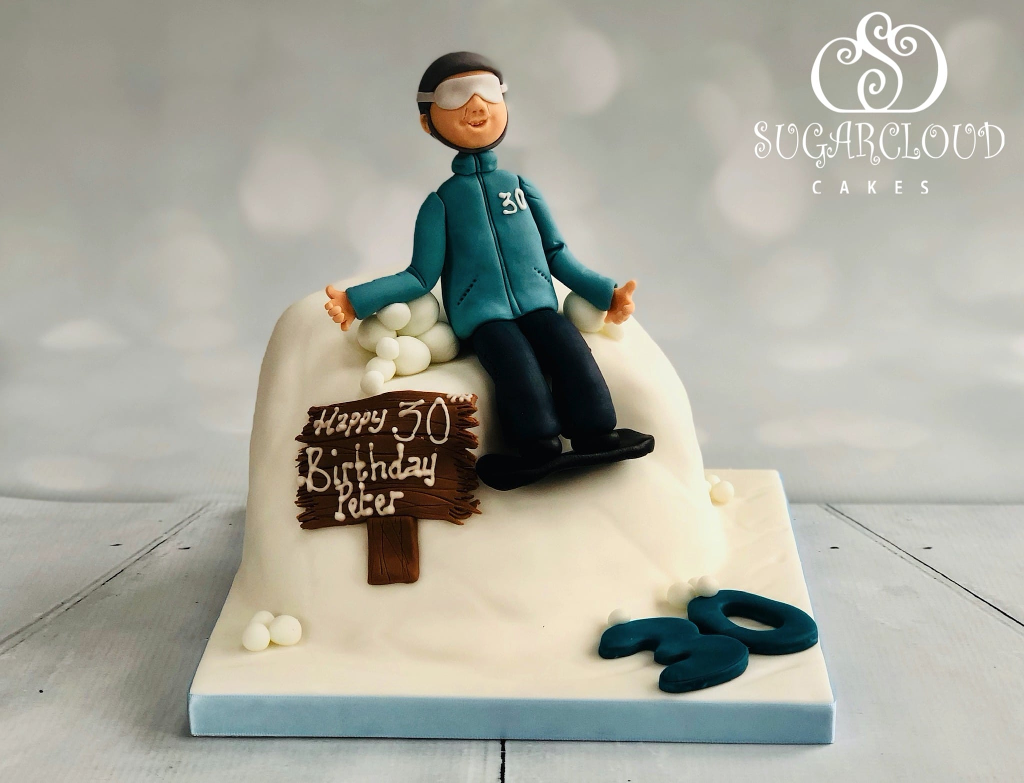 A Snowboarding Themed 30th Birthday Cake