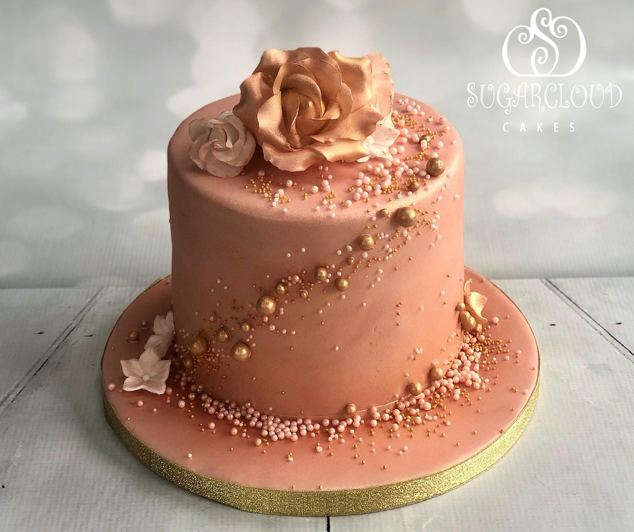 A Rose Gold 50th Birthday Cake