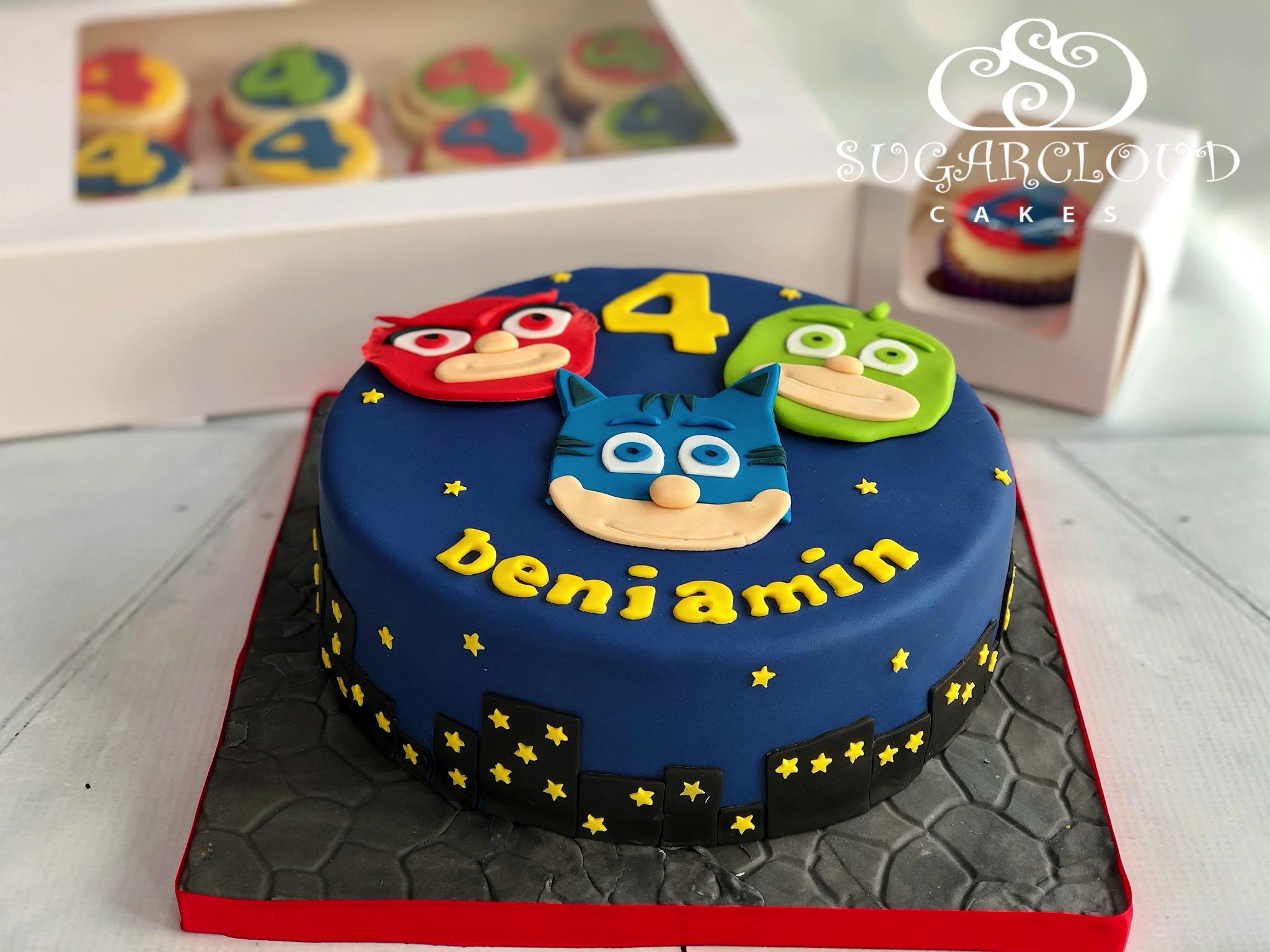 Benjamin's PJ Masks Inspired Cake and Cupcakes