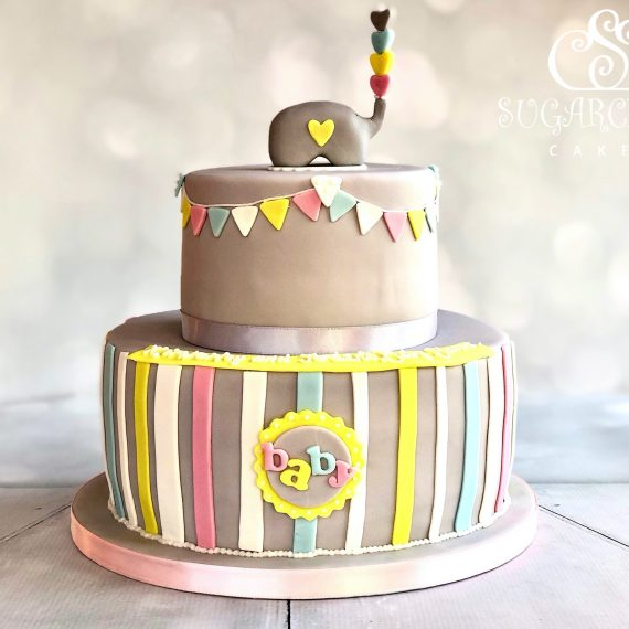 Elephant Inspired Baby Shower Cake