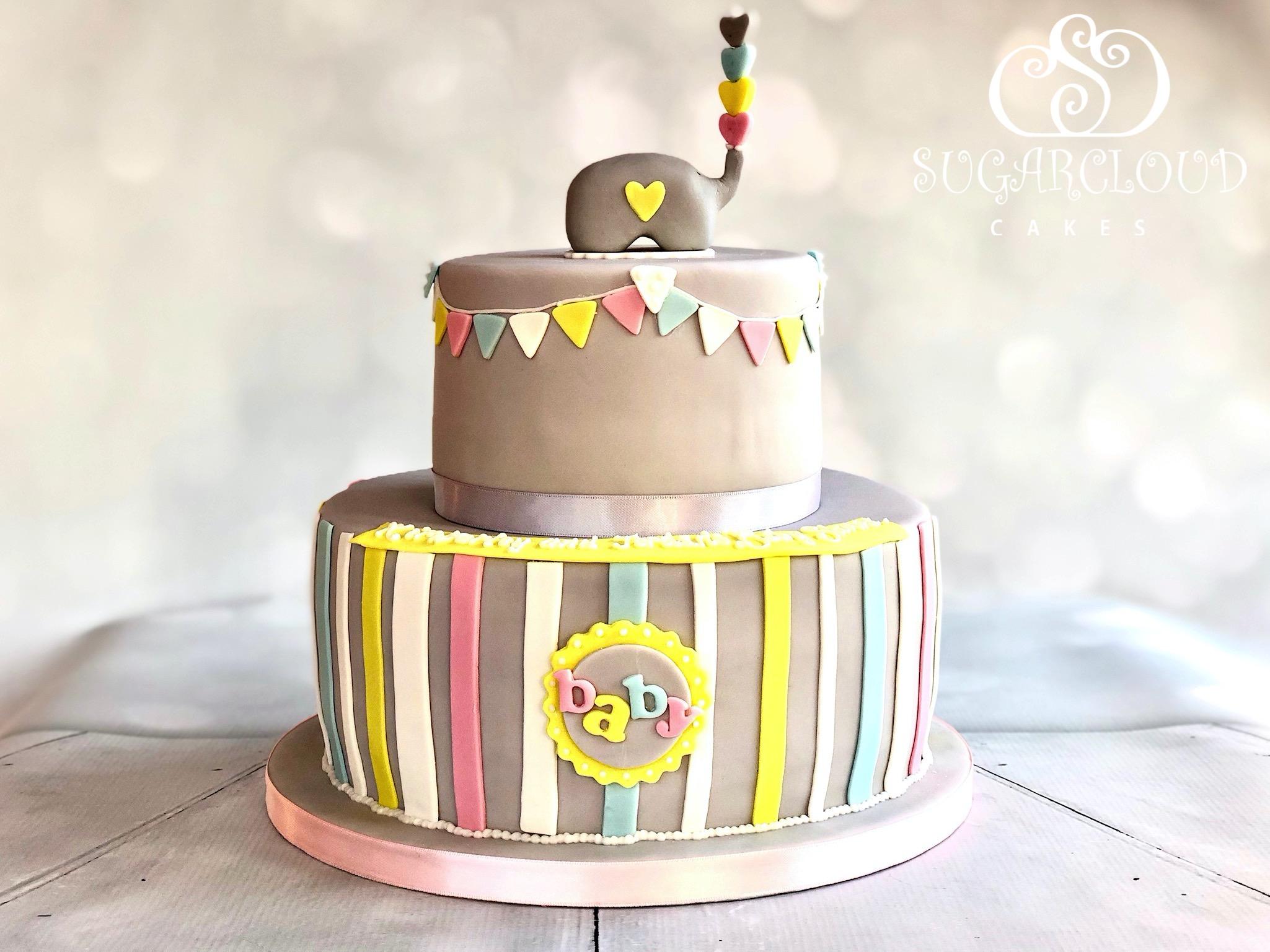 Elephant Inspired Baby Shower Cake
