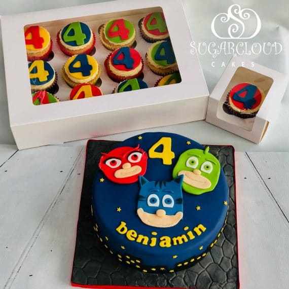 Benjamin's PJ Masks Inspired Cake and Cupcakes