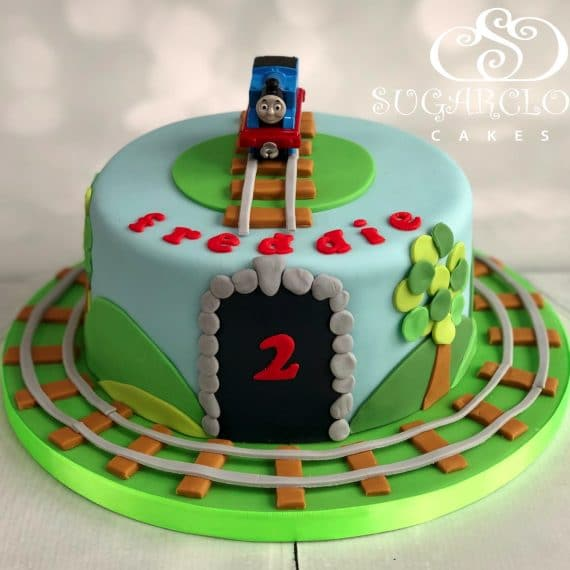A Thomas The Tank Engine Themed 2nd Birthday Cake