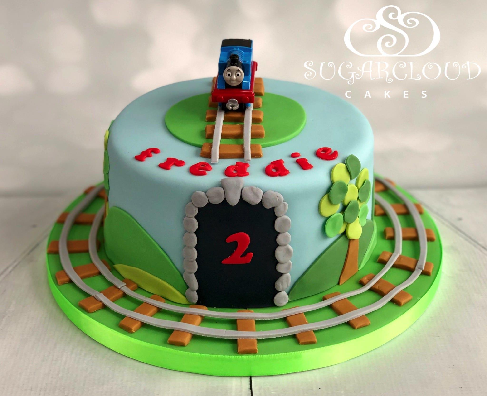 A Thomas The Tank Engine Themed 2nd Birthday Cake