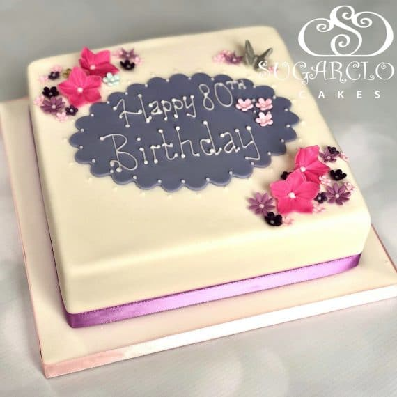 A Floral 80th Birthday Cake