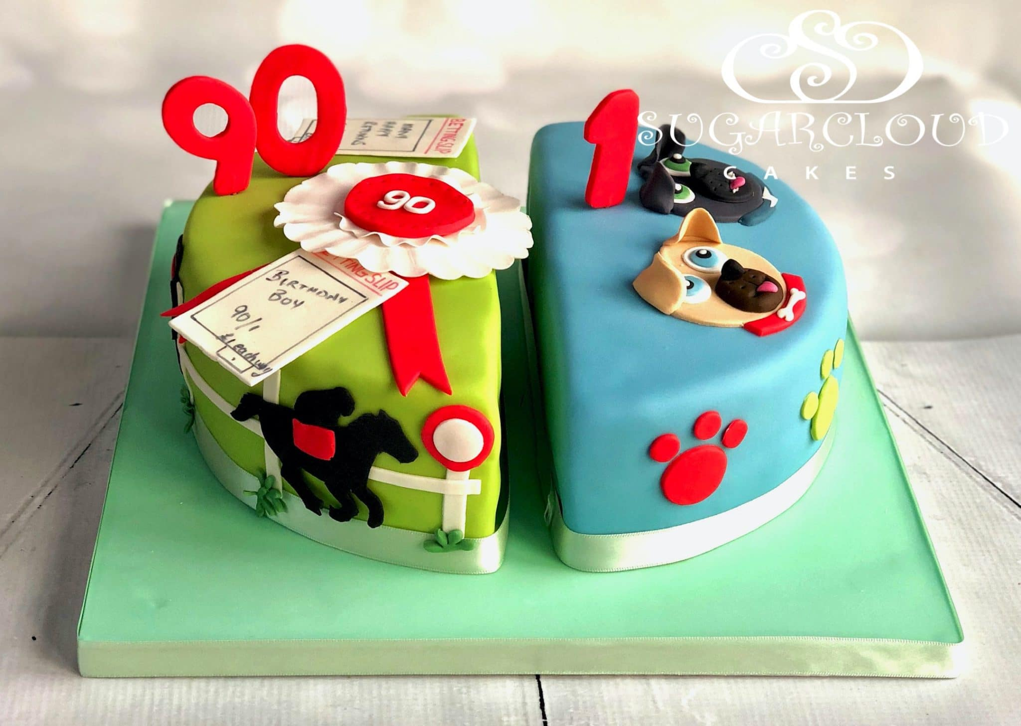 A Dual Birthday Cake for a 90th and a 1st Birthday