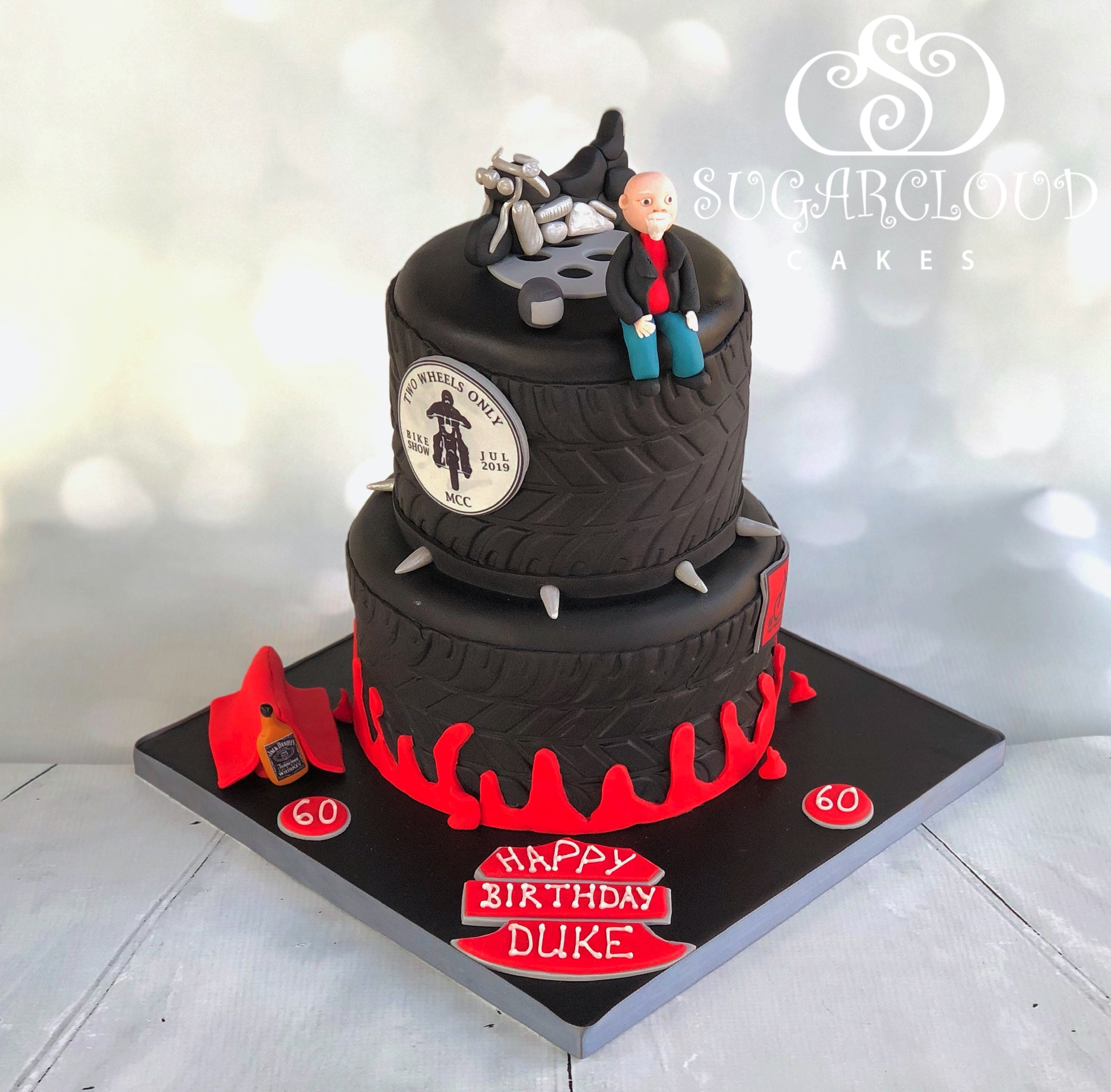 Duke's 60th Birthday Motorbike Themed Cake
