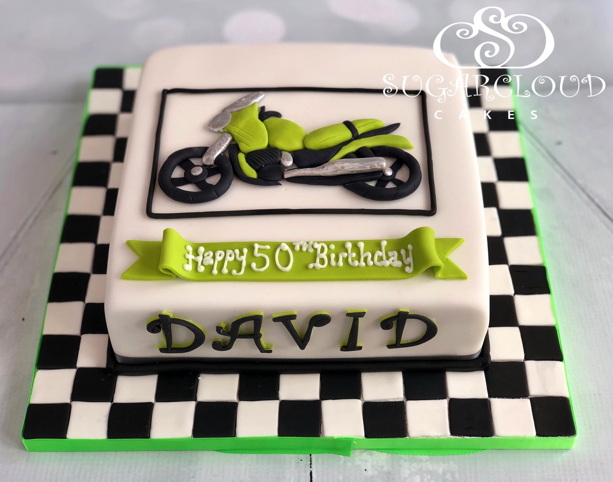 A 50th Birthday Motorbike Cake