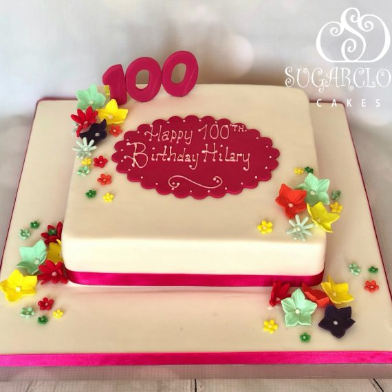 A Bright and Colourful 100th Birthday Cake for Hilary