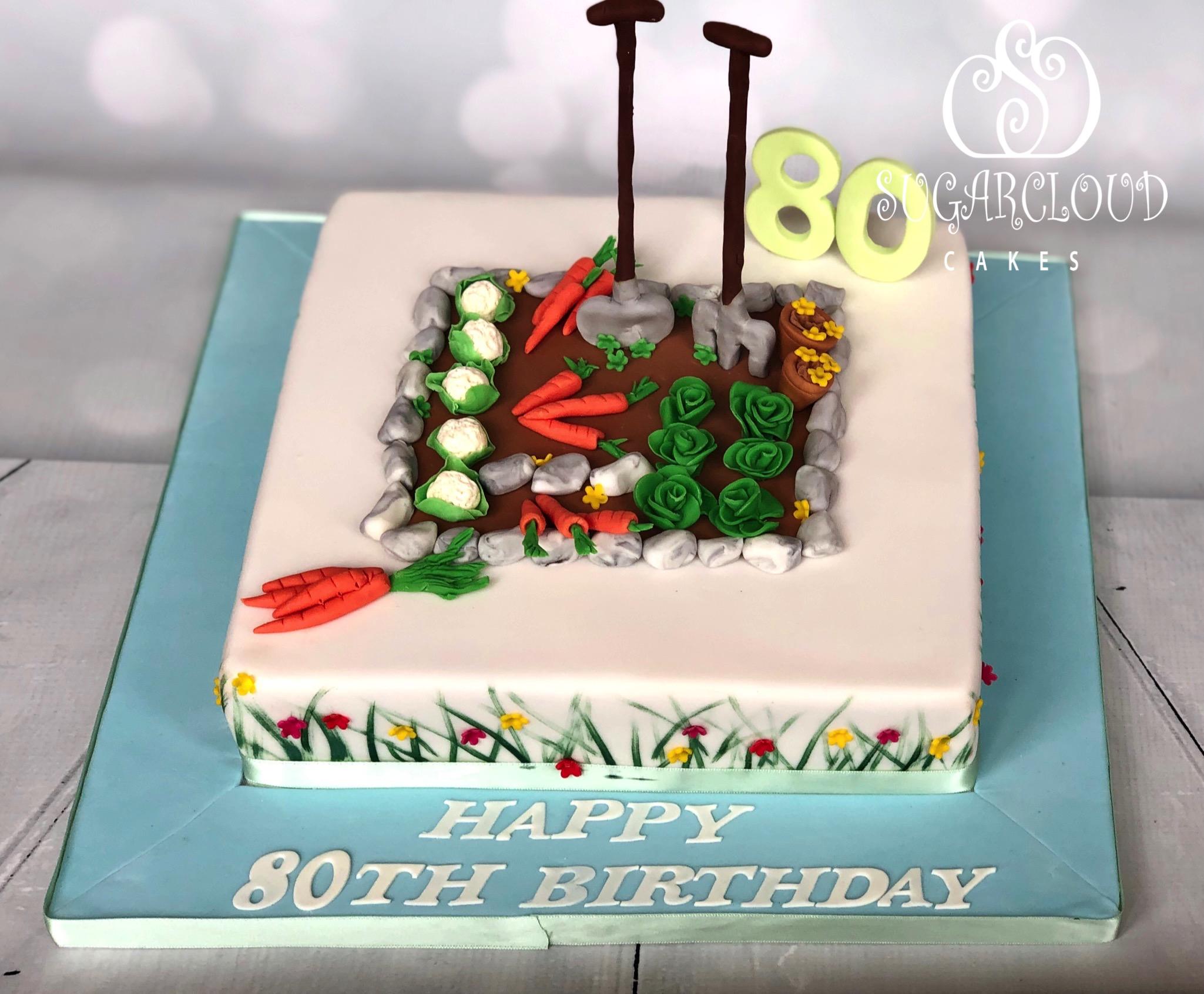 An 80th Birthday Cake for a Keen Gardener, Crewe