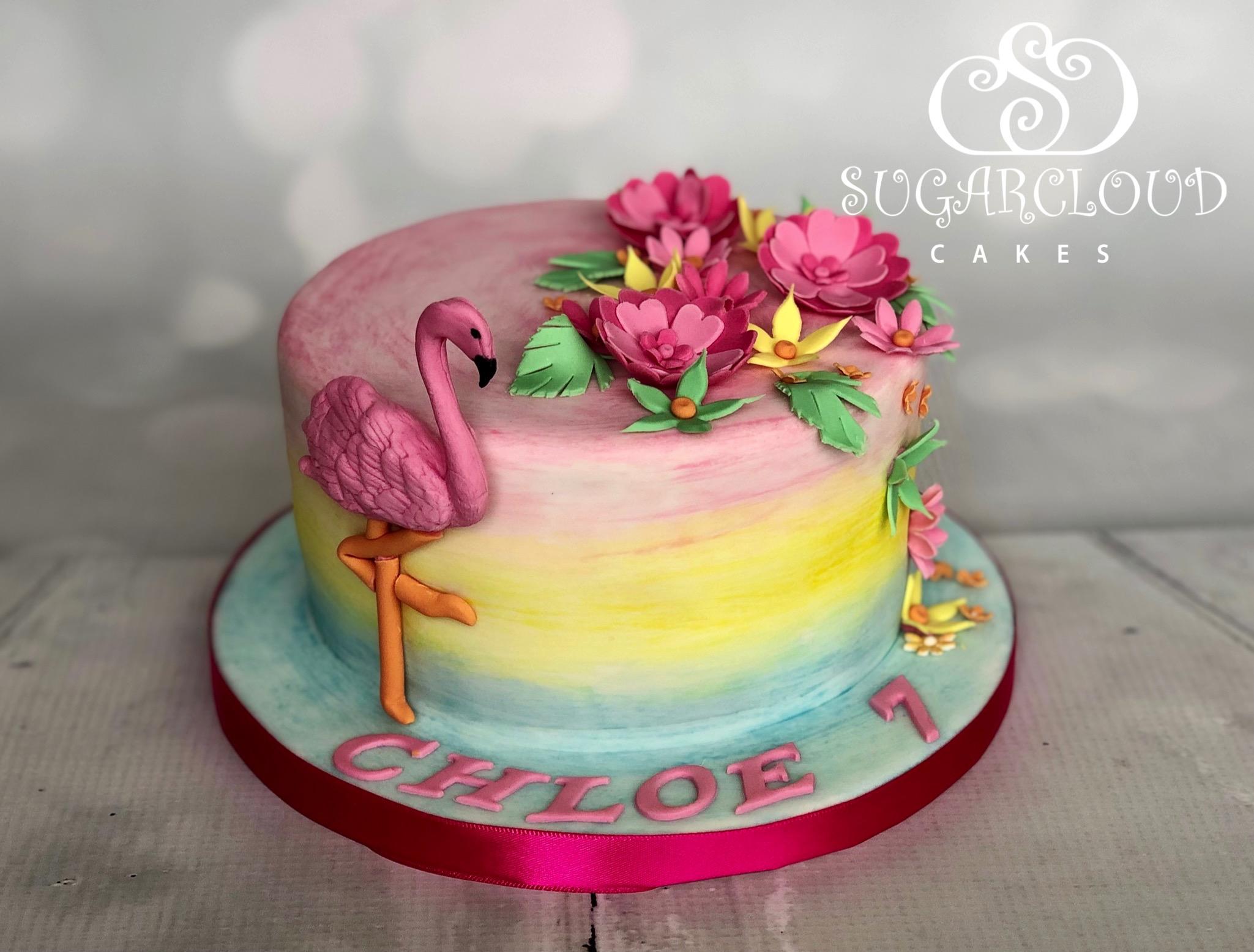 A Tropical Themed 7th Birthday Cake