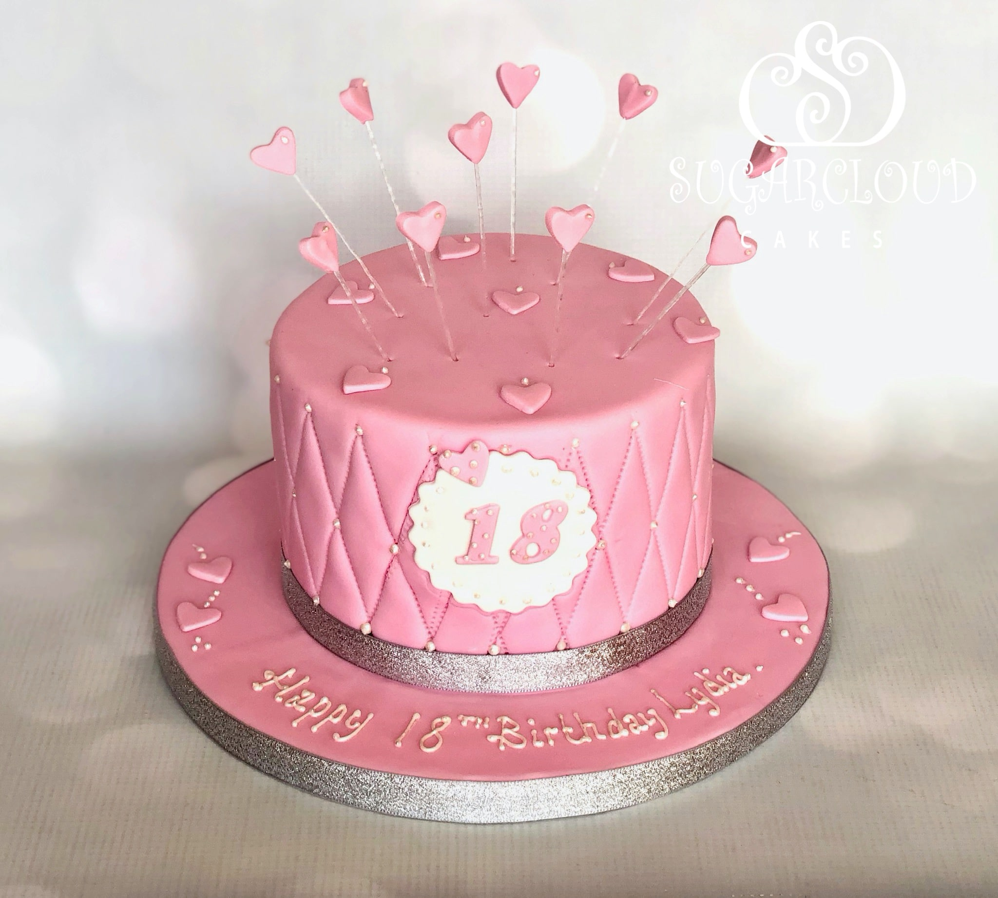 A Pink Heart Themed Quilted 18th Birthday Cake, Haslington