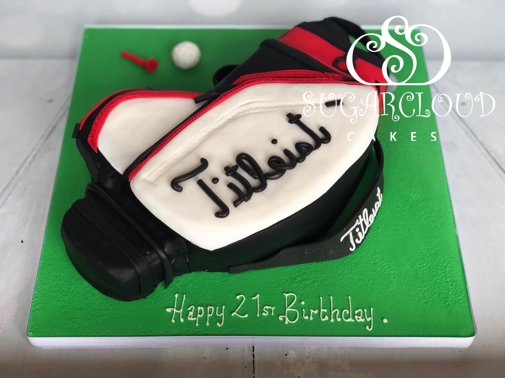 A 21st Birthday Titleist Golf Bag Cake